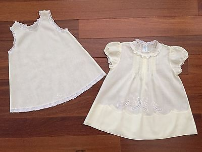 Vintage Handmade Feltman Bros Yellow Baby Dress & Slip Lace Embroidery Pin Tucks