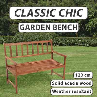 2 Seater Outdoor Acacia Hardwood Bench Classic Wooden Garden Chair Furniture