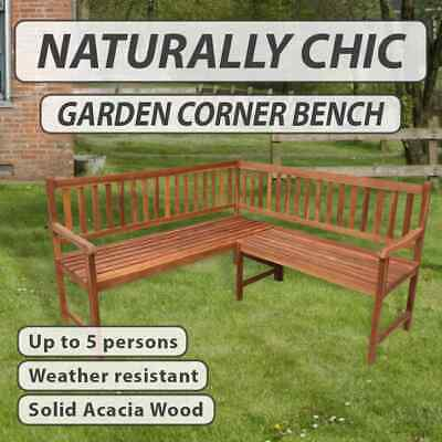 Outdoor Corner Bench Acacia Hardwood Seat Garden 5-Seater Chair Patio Furniture