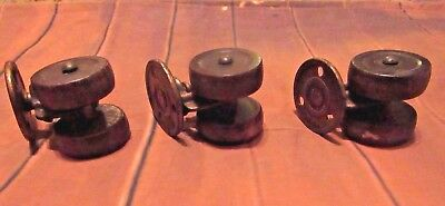 Lot Of 3 Antique Tucker Dual Wooden Wheel Casters ~ Salvaged Hardware