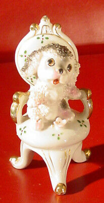 5 inch sitting Poodle in chair figurine Japan  cartoon puppy dog w. gold accents