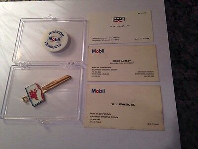 Mobil Red Flying Horse Key And 3 Business Cards Vintage With Case Must See