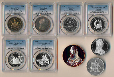 6 CANADA SILVER DOLLARS (PCGS SPECIMENS/DCAMs) + 3 MORE SILVER UNCS > NO RESERVE