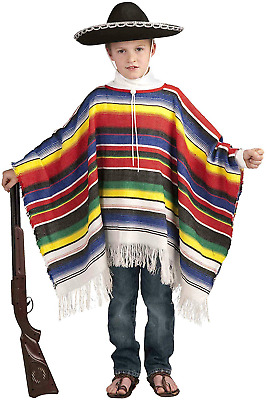 Mexican Poncho Kids Costume - Child Std. fits up to size 12 NEW FREE SHIPPING