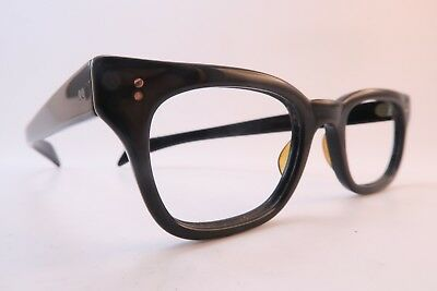 Vintage 50s eyeglasses frames black acetate 7BRL hinges 46-28 made in USA
