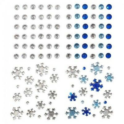 Stick-On Self Adhesive Assorted Christmas Diamantes  Blue & Silver - per ...