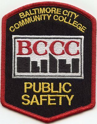 Baltimore Maryland Community College Public Safety  Police Shoulder Patch BCCC