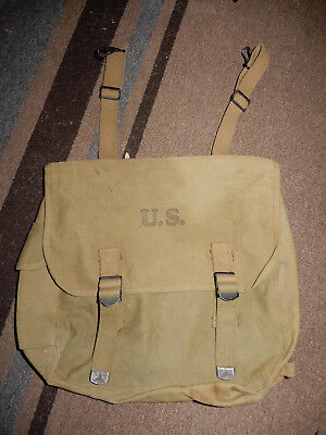 Original Wwii 1943 Dated Us Army Khaki Musette Bag M1936 Pack