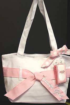 NEW~Flower Girl Tote~Extra Ribbons for Color Change~White & Pink~Multiples