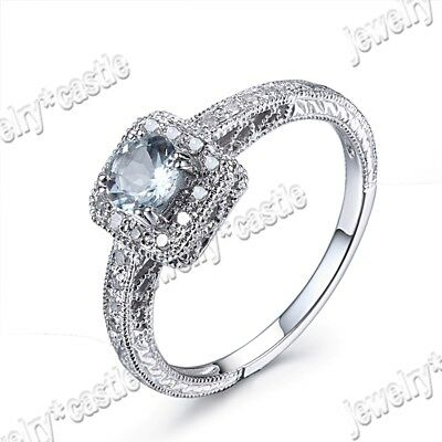925 Sterling Sliver Round Cut Blue Aquamarine Diamond Vintage Wedding Fine Ring