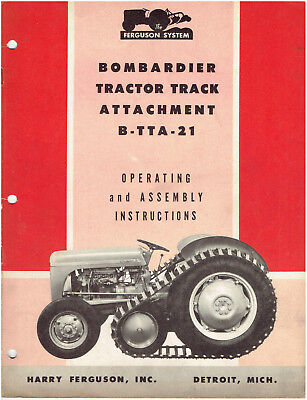 Ferguson Bombardier Tractor Track Attachment Operating & Assembly Instructions