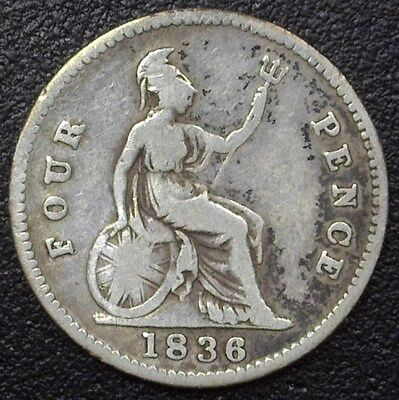Great Britain 1836 William Iiii Silver 4 Pence Choice Fine  Km#323