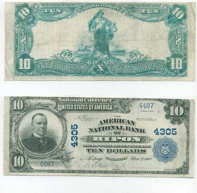 Ripon Wisconsin 1902 $10 American National Bank