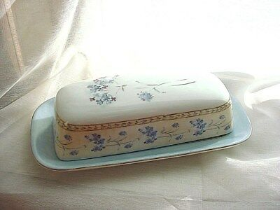 Covered Butter Dish Heritage Mint Enchanted Garden Blue Flowers Ceramic