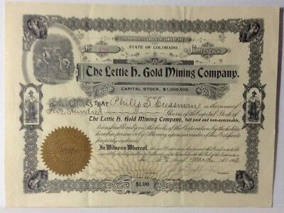 Lettie H Gold mining Company Colorado 1903 Stock Certificate Uncancelled