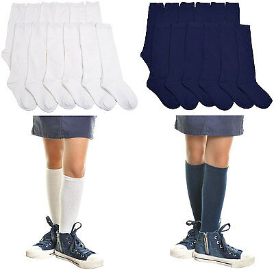 6 Pair Pack Girls Cotton Knee High School Socks Premium Quality Uniform Lot