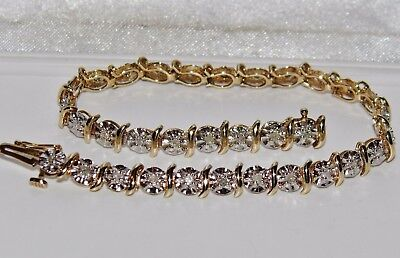 9ct Yellow Gold 0.50ct Diamond Ladies Tennis Bracelet UK Hallmarked - Gift Boxed