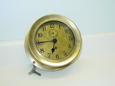 Vintage Brass Casing Ships Clock with Key