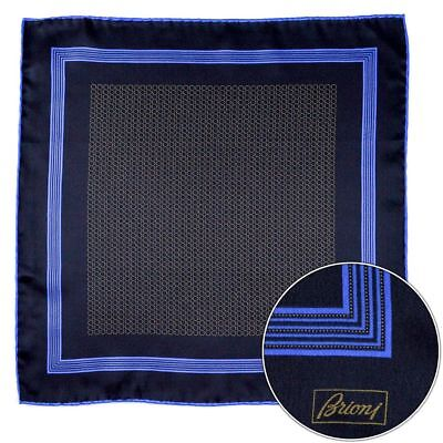 Men's BRIONI Blue Gold Spiral Silk Hand Made Rolled Pocket Square Handkerchief