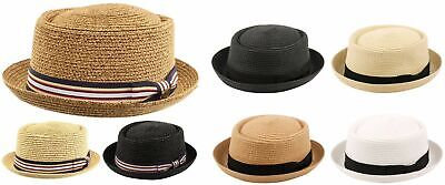 Men's Summer Lightweight Straw Pork Pie Derby Fedora Upturn Brim Hat w/ Ribbon