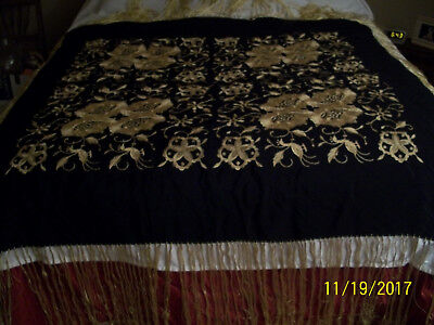 Beautiful 1920's Black & Gold Embroidered Piano Shawl Metallic Thread 50 by 50