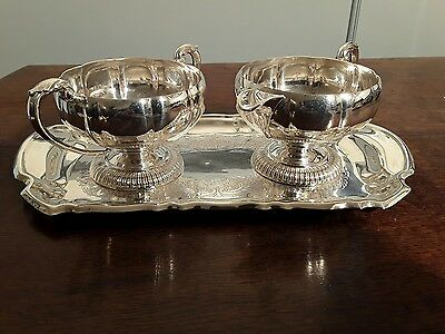 Marlboro silver plate Sucrier and Cream set on Tray