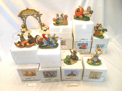 Charming Tails Fitz and Floyd Christmas lot of 8 Fall Thanksgiving Halloween