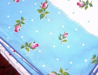 """Vintage Pink Rose Floral COTTON / White Turquoise DUVET Size ~ Twin 68"""" x 86"""""""