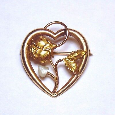 Art Nouveau Antique 10k 417 Solid Yellow Gold Pearl Flower Heart Pin Brooch