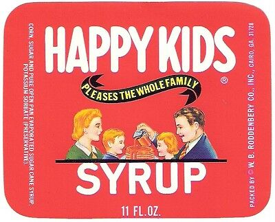 2 Happy Kids Syrup Labels Unused W.B. Roddenbery Cairo  Georgia New Old Stock