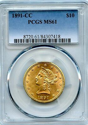 Amazing 1891-CC PCGS MS 61 United States $10 Liberty Head 90% Gold Coin RR991