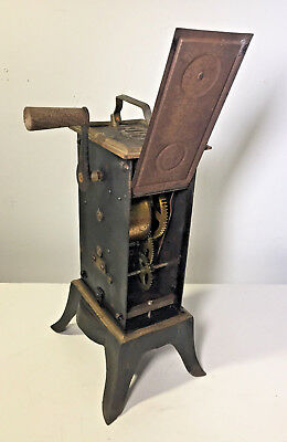 Vtg Antique Rotisserie Spit Jack Cast Iron Clockwork French Fireplace Hearth