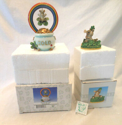 Charming Tails Fitz and Floyd Christmas lot of 2 St Patrics Day Irish clover pot