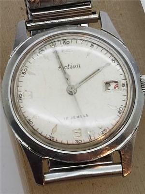 """Vintage 1960's """"Action"""" 17 Jewel Gents Wristwatch with Manual Wind French Mvt."""