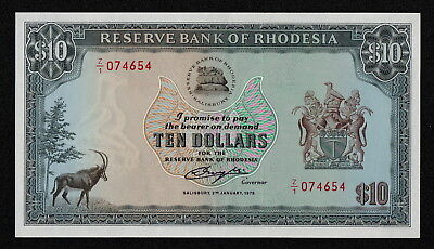 RHODESIA (P41r) 10 Dollars 1979 XF+ Replacement note!