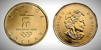 Canada 2010 Inukshuk Vancouver Olympics Lucky Loonie BU UNC From Mint Roll!!