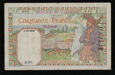 TUNISIA (P12a) 50 Francs 1938 5.12. aVF/F+ Not listed date on WPMC