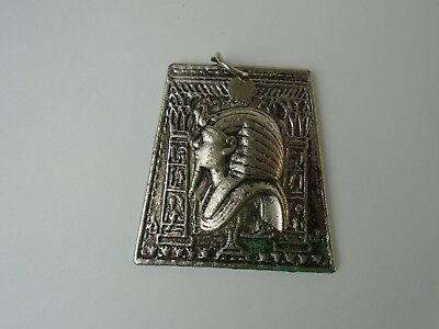 Vintage Silver Tone Large Heavy PHARAOH Egyptian Pendant Charm Necklace