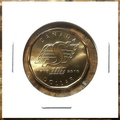Canada 2010 Saskatchewan Roughriders 100th Loonie BU UNC From Mint Roll!!