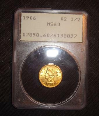 1906 $2 1/2 Liberty Head Gold Coin Quarter Eagle MS60 PCGS Rattler Holder Old