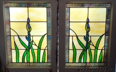 "Antique Pair of Bungalow Stained Glass Window with Iris Flower 18"" x 25"""