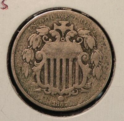 1867 Shield Nickel with Rays  AG/G