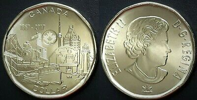 Canada 2017 Achievements - Connecting a Nation Loonie BU UNC From Mint Roll!!
