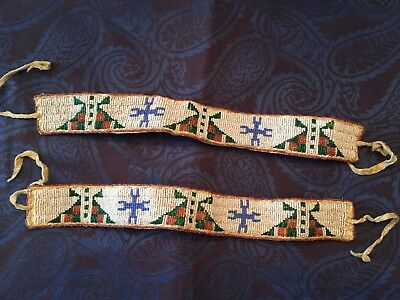 Pair Of Native American Indian Sioux Beaded Arm Bands On Leather Late 1800'S