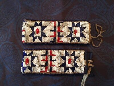 Pair Of Native American Indian Sioux Beaded Arm Bands Leather Late 1800'S Lined