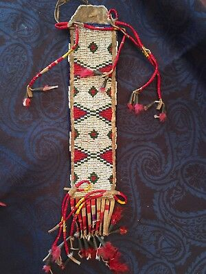 Native American Indian Sioux Beaded & Quilled Hair Drop Late 1800'S #1