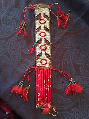 Native American Indian Sioux Beaded & Quilled Hair Drop Late 1800'S #2