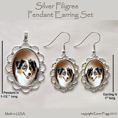 AUSTRALIAN SHEPARD DOG Dark - Filigree PENDANT EARRING Set