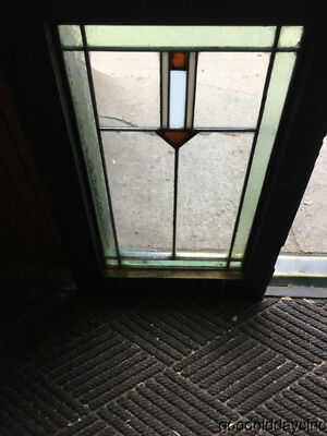 """Nice Antique Prairie Style Stained Leaded Glass Window Small Door 26"""" by 17"""""""