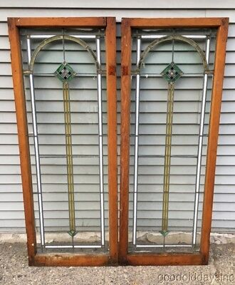 """Antique 1920's Stained Leaded Glass Doors / Windows from Chicago 62"""" by 24"""""""